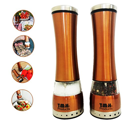 Salt and Pepper Grinder Set, Adjustable Salt Grinders by T.M.H. Products | ELECTRIC SET of 2Mills, Simple to Use with Strong Mechanism | Polished Stainless-Steel | Accent Copper Salt and (Polished Steel Accent)