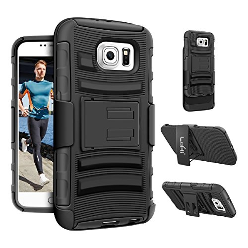 Galaxy S6 Case, LoHi Heavy Duty 3 in 1 Ultra Protective Galaxy S6 Holster Case with Belt Clip for Samsung Galaxy S6 (Black)