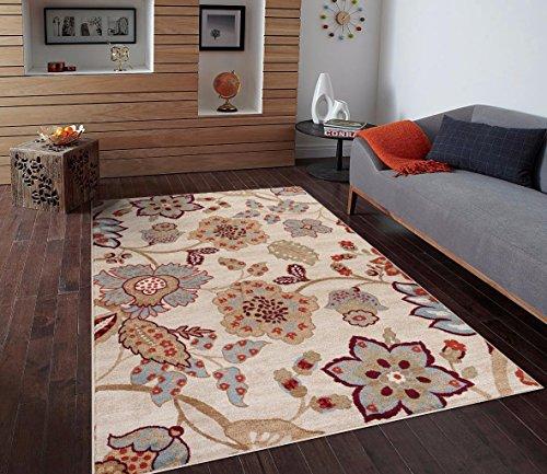 Ivory Beige Blue 7'10x10'2 Floral Area Rug Oriental Carpet Large New