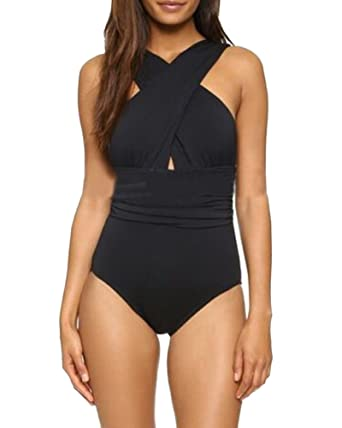 Femme Col V Profond Croisé Backless Une Piece Amincissant Maillot De Bain  Push-up Bikini