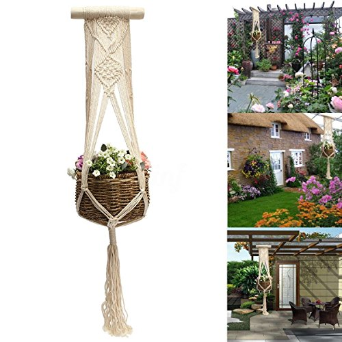 Vintage Plant Flower Hanger Pot Holder Macrame Jute Ceiling Ring Hanging Basket ()