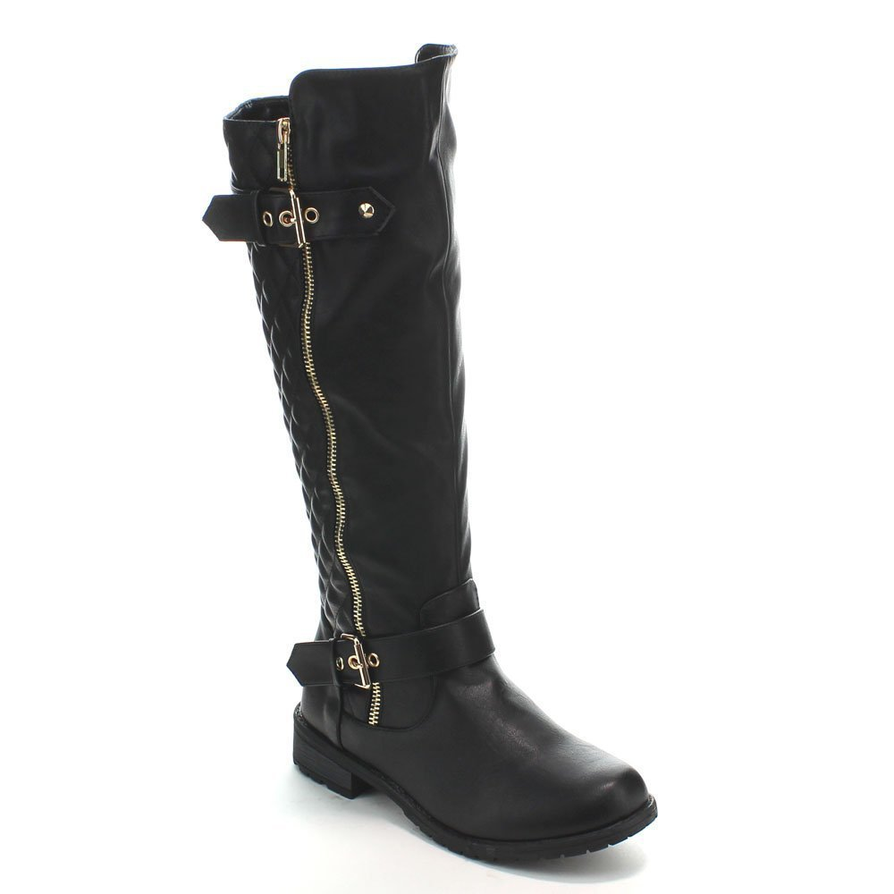 Forever Link Women's MANGO-21 Quilted Zipper Accent Riding Boots, Black, 9