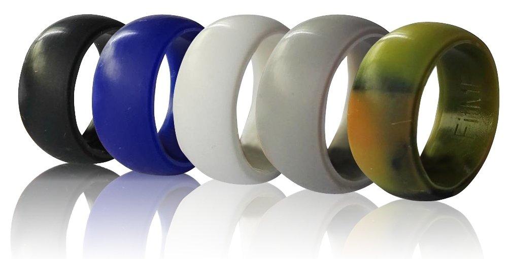 シリコン男性用結婚指輪by FITme – プレミアム品質シリコンウェディングバンド、5パック – ゴムウェディングバンド – ブラック、カモ、グレー、ブルー、ホワイト 9  B01KVZ56OS