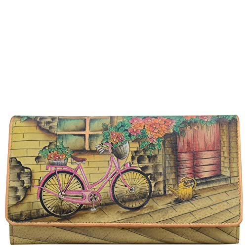 vintage bike design leather wallet