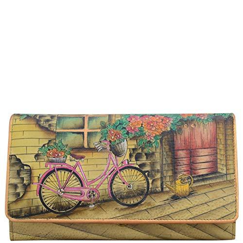 Anuschka Women's Genuine Leather Wallet | Accordion Flap | Hand Painted Original Artwork | Vintage Bike