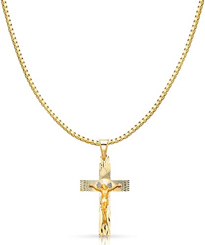 14K White Gold Religious Crucifix Stamp Charm Pendant For Necklace or Chain