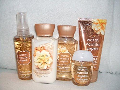 Bath & Body Works WARM VANILLA SUGAR New Look Travel size set of 5 fragrance mist 3 fl oz., body lotion 3 fl oz., shower gel 3 fl oz.,24 hour ultra shea body cream., anti-bacterial hand gel 1 fl (Warm Vanilla Sugar Hand Cream)