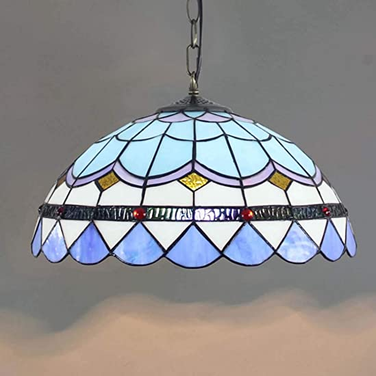 16 Tiffany Style Blue Stained Glass Art Pendant Light Simple Dining Room Hanging Pendant Lamps for Kitchen Island Lighting,110V-240V E27 40W