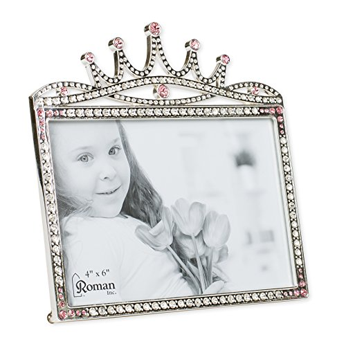 Princess Crown Rhinestone Encrusted 6 x 5.5 inch Zinc Alloy Table Top Picture Frame -