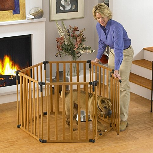 North States 3-in-1 Wood Superyard Pet Pen 6 panel Wood 24″ x 30″