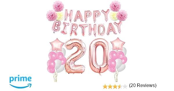 KUNGYO Decoraciones de Feliz Cumpleaños 20 Oro Rosa Happy Birthday Bandera Gigante Número 20 y Estrella de Helio Globos Cintas Flores de Papel Pom ...