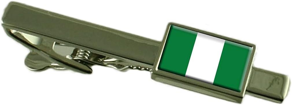 Keepsake Engraved Personalized Case Nigeria Flag Tie Clip Bar 55mm