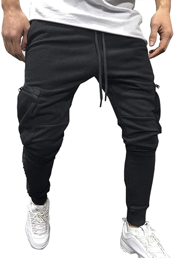 MECH-ENG Mens Slim Fit Cotton Joggers Pants for Fitness Casual Training Bodybuilding Sweatpants with Zipper Pockets