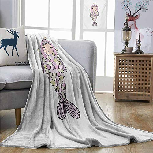 Homrkey Super Soft Lightweight Blanket Mermaid Fantasy Sea Life Mythological Character Girl in Fish Costume with Crown Moon Stars Blanket as Bedspread W54 xL72 Multicolor