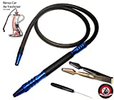 D Hose 2.0 Hybrid Dream Hookah Shisha Super BLUE and BLACK Aluminum Metal Handle All Red Grip Washable Silicon Hose Bonus Silicone Hose Grommet And Starbuzz Tongs With Foil Poker