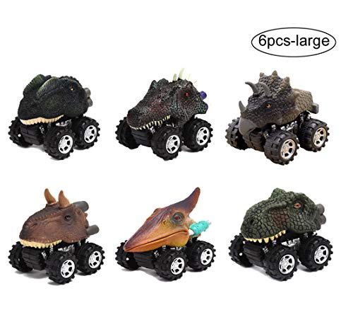 Wenosda 6pcs Friction Cars Dinosaur Inertia Car Push and Go Truck Dino Dragon Vehicle Toy with Tire Wheel for Kids/Children/Child/Toddler (10x12x8cm/3.94x4.7x3.15in, Large - Dragon Push Toy