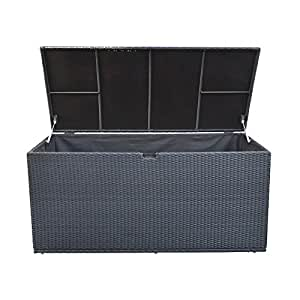 "64"" LARGE Resin Wicker BLACK Storage Box Patio Deck Pool Chest Trunk Bin ST01"