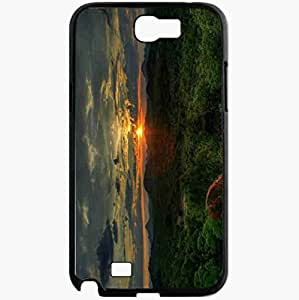Unique Design Fashion Protective Back Cover For Samsung Galaxy Note 2 Case Mountain Forest Sunset Nature Black