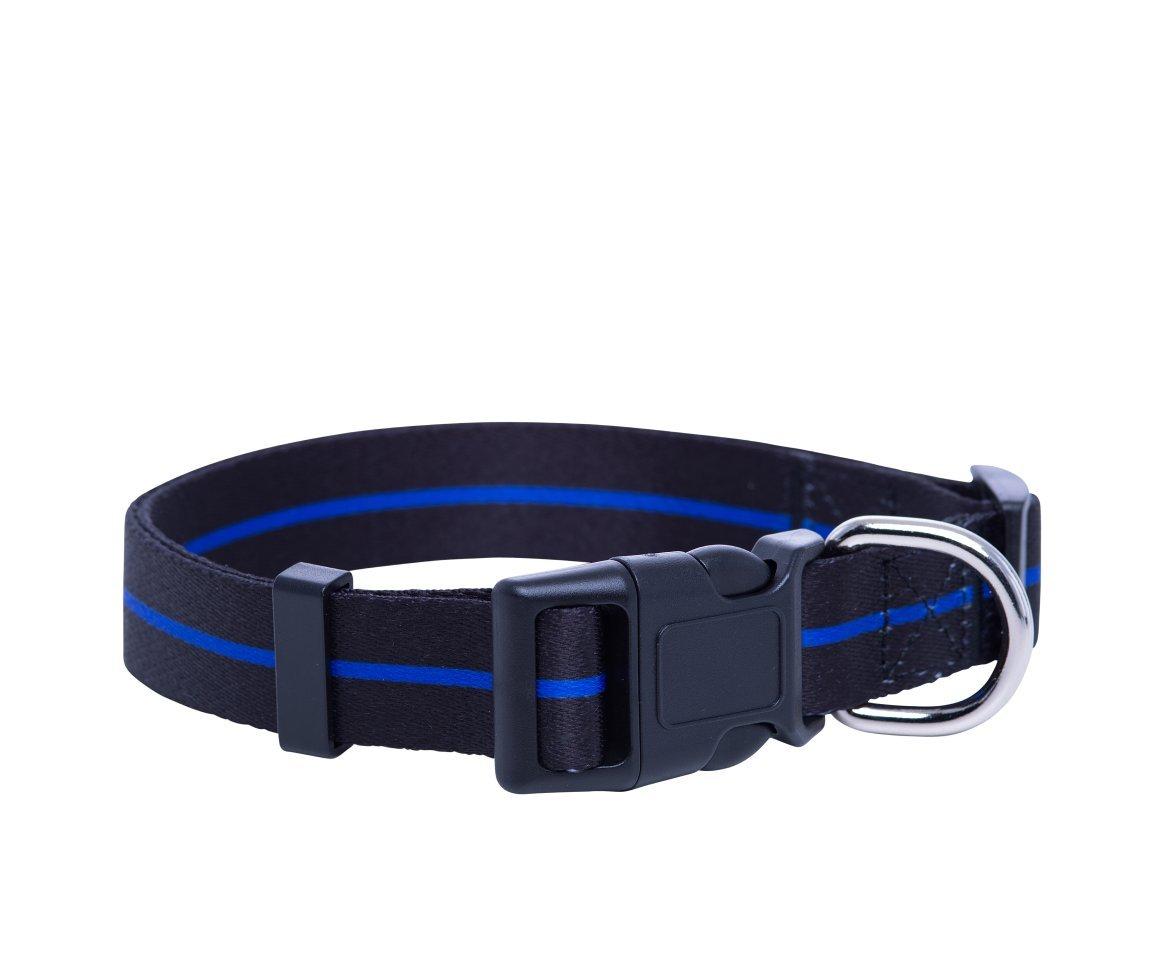 Medium Native Pup Thin bluee Line Dog Collar Police Dog Collar (Medium)