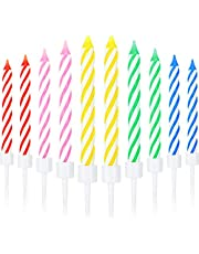 Blulu 50 Pieces Spiral Cake Candles in Holders Metallic Cake Cupcake Candles Short Thin Cake Candles for Birthday Wedding Party Cake Decorations (Color Set 2)