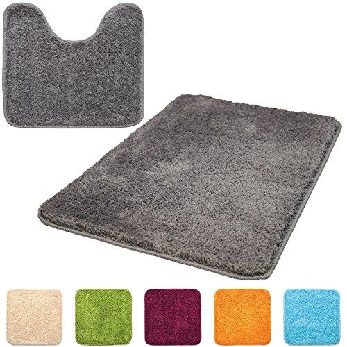 Beautissu® 2er Set Bade-Matte 60x90 cm & WC-Vorleger mit Ausschnitt 45x50 cm - Grau - weich und rutschfest