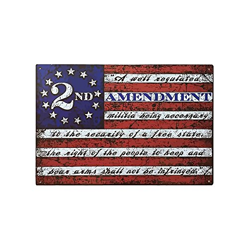 Flag Vintage Metal - American Wit Vintage Tin Signs, 9X12 Second Amendment Metal Signs for Gun Owners, Vintage Home & Kitchen Sign with USA Flag, 2nd Amendment Home Sign for Man Cave, Kitchen Signs w/Flags