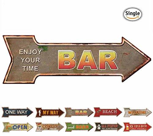 Metal Street Bar Sign (HANTAJANSS Bar Signs Retro Arrow Embossed Metal Signs for Wall Decoration)