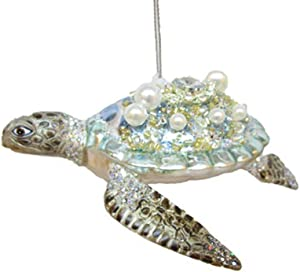 December Diamonds Glass Ornament - Jeweled Pastel Turtle 5""