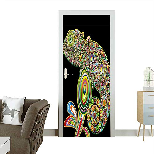 Homesonne Door Sticker WallpaperArt Style Chameleon Figure with Embellished Elements Original Reptile Graphic Fashion and Various patternW32 x H80 -
