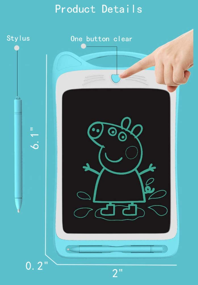 TIANDOU 9 Electronic LCD Writing/&Drawing/&Learning Tablet Drawing Board Portable Doodle Handwriting Notepad/&Pad Gift for Kids at Home/&School,Blue,Single