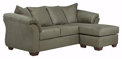 Miraculous Ashley Furniture Signature Design Darcy Contemporary Microfiber Sofa Chaise Sage Interior Design Ideas Apansoteloinfo