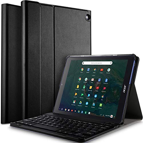 Tab 10 Tablet Case with Keyboard - Ultra Lightweight Portfolio Detachable Wireless Keyboard Front Prop Stand Case/Cover for Acer Chromebook Tab 10 Tablet (Black) ()