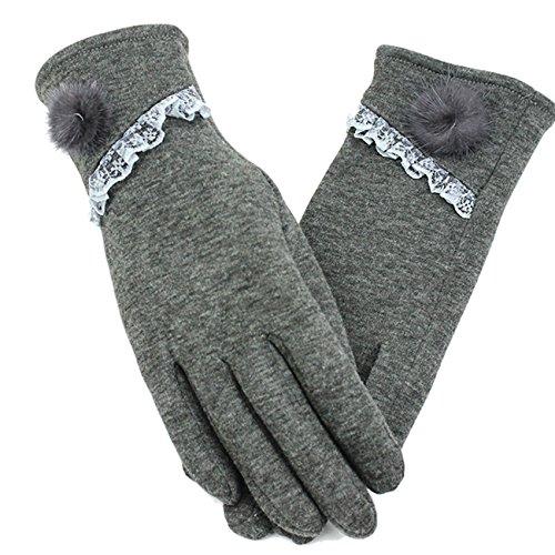 手袋 レディース フェイクファー付 5本指 無地 裏起毛 かわいい おしゃれ 秋冬 防寒 暖かい 上品 エレガント お出かけ パーティー Monissy