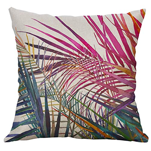 (Qingell Throw Pillow Case Cotton Square Cushion Cover for Sofa Couch Car Bed - Tropical Flower Leaves Pattern 40X40cm)