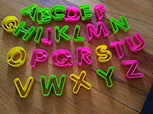 Stylish Home Bpa-free 26 Pieces Plastic Alphabet Cookie and Biscuit cookie-cutter Set (a great gift for Mother's day)
