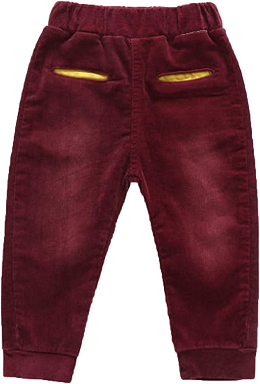 PoonStyling Kids Toddler Boys Soft Long Corduroy Pull Up Pants for Active Kids School Play