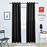 HOLKING Grommet Blackout Window Curtain Panel Antiflaming Flame Retardant Darking Curtain Drape for Bedroom,Kitchen with Tieback,1 panel,56Wx84L