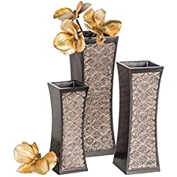 Dublin Decorative Vase Set of 3 in Gift Box, Durable Resin Flower Vase Set Decor, Rustic Decorated Dining Table Centerpiece Vases Home Accents Living Room, Bedroom, Kitchen & More (Brown)