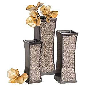 Dublin Decorative Vase Set of 3 in Gift Box, Durable Resin Flower Vase Set Decor, Rustic Decorated Dining Table Centerpiece Vases Home Accents for Living Room, Bedroom, Kitchen & More (Brown) 23