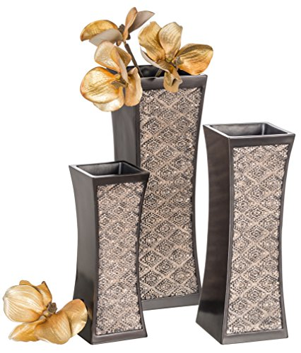Dublin Decorative Vase Set of 3 in Gift Box, Durable Resin Flower Vase Set Decor, Rustic Decorated Dining Table Centerpiece Vases Home Accents for Living Room, Bedroom, Kitchen & More (Brown) - DESIGNED TO IMPRESS: Rich brown hue & textured patterns create a standout decorative vase set. PREMIUM FEEL: Made using quality resin, the home décor vases are impressively heavy & never rust. THOUGHTFUL DESIGN: We've fitted the elegant vase set with bottom protectors to prevent scratches. - vases, kitchen-dining-room-decor, kitchen-dining-room - 51RWl pcd9L -