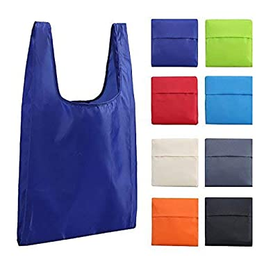 Tebery 8 Pack Reusable Grocery Bags - Colorful Shopping Bags Foldable for Space Saving - Lightweight, Strong and Durable