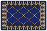Bungalow Flooring 2 by 3-Feet Surfaces Floor Mat, Fleur De Lis, Gold with Cobalt Blue