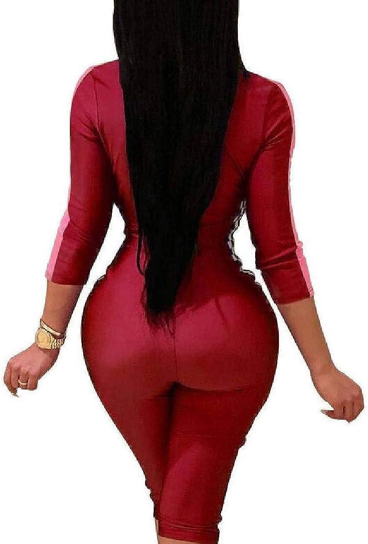Fubotevic Women Color Block Zipper Long Sleeve Bodycon Short Romper Jumpsuit