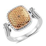 ION Plated 0.018 cttw Round Yellow Diamond, Diamond Engagement Cluster Ring for Women Size 6