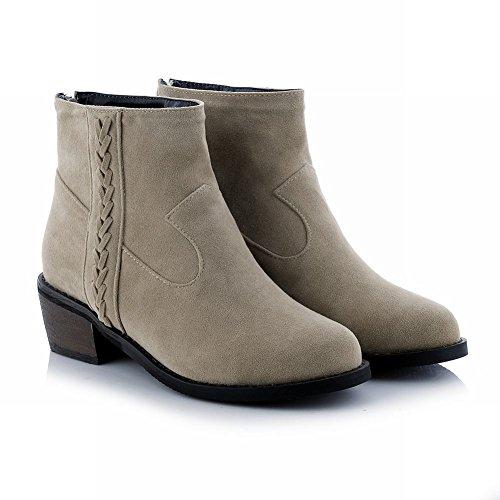 Mee Shoes Damen Reißverschluss Nubukleder runde chunky heels Stiefel Beige