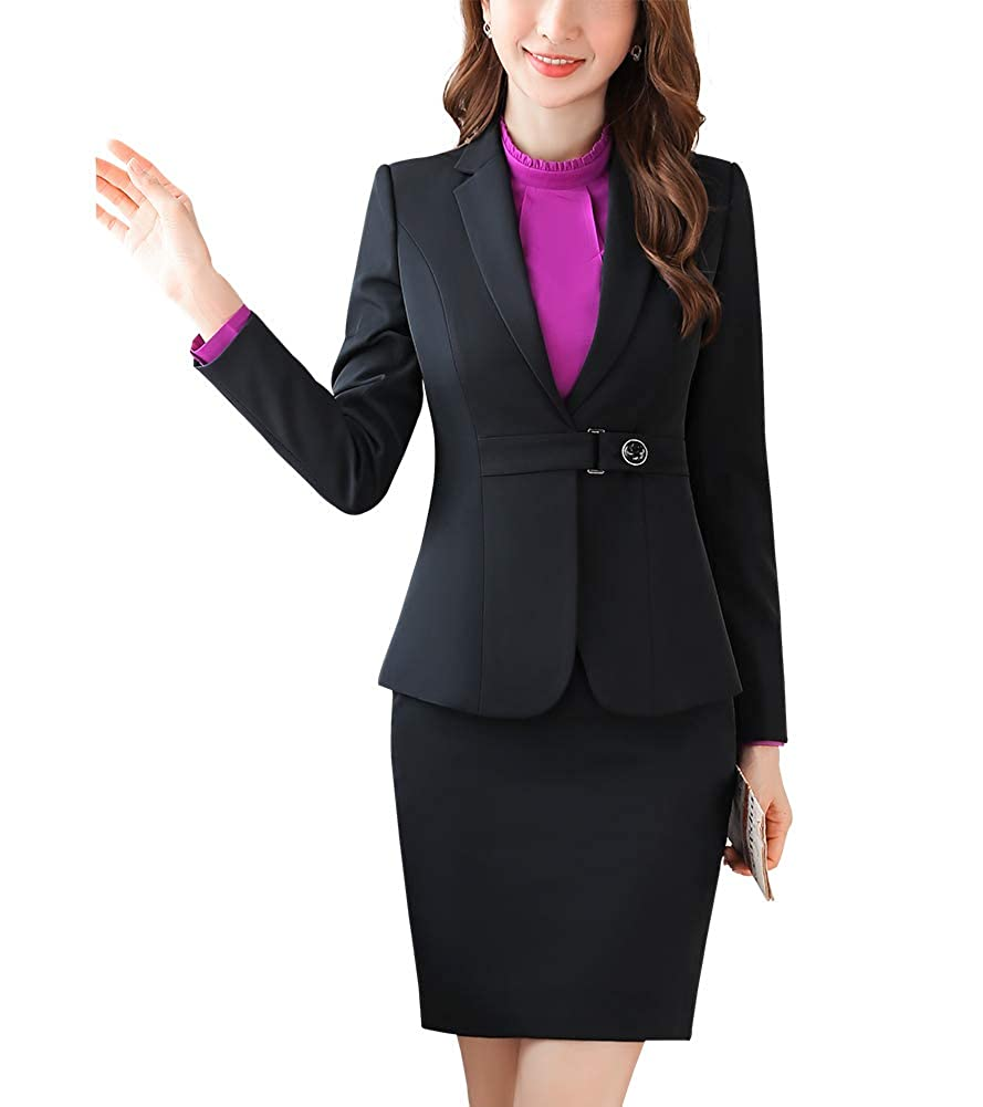Black SUSIELADY Women's Two Pieces Blazer Suit Office Lady Casual Blazer & Pant Skirt Suit Set