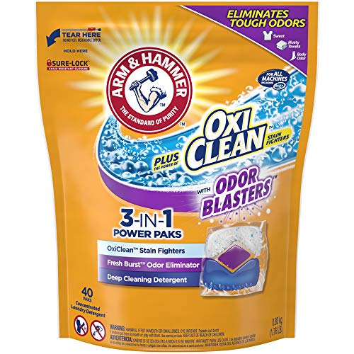 ARM & HAMMER Plus OxiClean Odor Blasters 3-in-1 Power Paks, 40ct