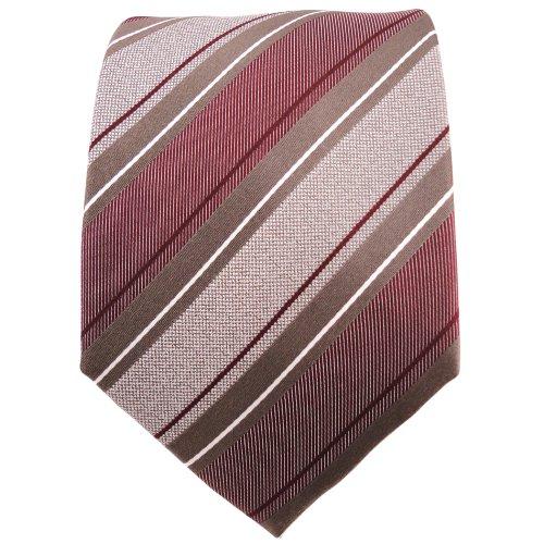 TigerTie cravate en soie rouge foncé bordeaux brun argent rayé - cravate en soie