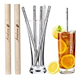 Eco Friendly Reusable,4 Pack Premium Stainless Steel Metal Straws and 2 Handcrafted Wooden Travel Cases & Set of 2 Cleaning Brushes - Reusable Drinking Straws For Tumblers/Yeti / Ozark -8.5 inchs