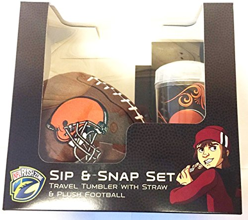 (Cleveland Browns NFL Sip and Snap Gift Set (16 Oz. Travel Mug with Straw and Plush Football))